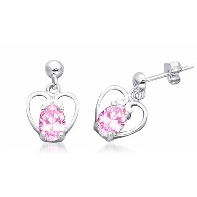 Oval cut Pink Cz Dangling Heart Earrings in Sterling Silver