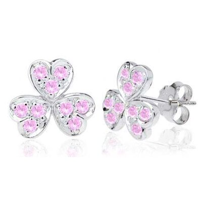Round Cut Pink Cz Flower Heart Earrings in Sterling Silver