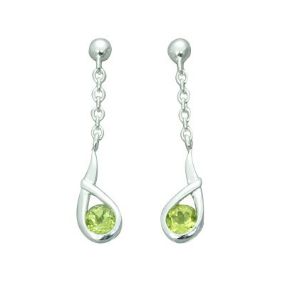 Oravo 1.25 Ct.T.W. Genuine Round Peridot Earrings in Sterling Silver