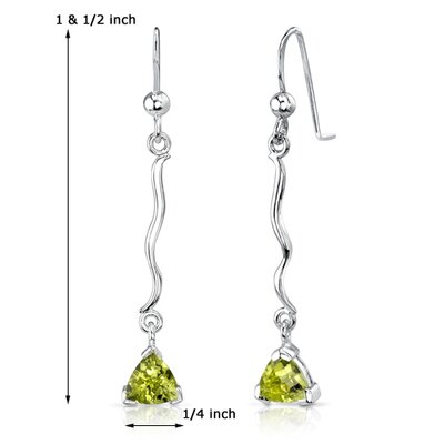 Oravo 1.50 Ct.T.W. Genuine Trillion Cut Peridot Earrings in Sterling Silver