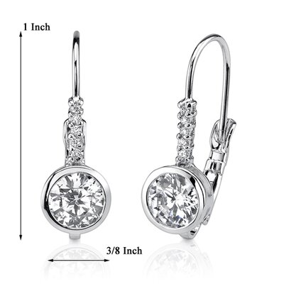 Oravo Dazzling and Elegant Celebrity Inspired Bridal Style Bezel Set Lever back Cubic Zirconia Earrings in Sterling Silver