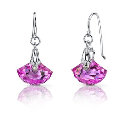 Oravo Spectacular Shell Cut 12.00 carats Alexandrite Fishhook Earrings Sterling Silver
