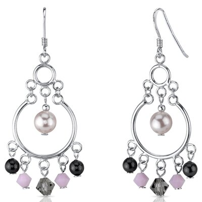 Pearl of Wisdom Pink s and Pearls Drop Earrings in Sterling Silver with Swarovski Elements ...