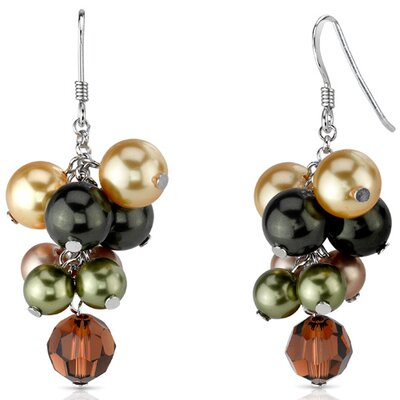 Earth Goddess s and Pearls Cluster Drop Earrings in Sterling Silver with Swarovski Elements