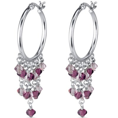 Sugar Plum Fairy Hoop Earrings with Swarovski Crystals in Sterling Silver