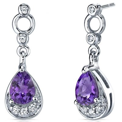 Oravo Simply Classy 1.00 Carats Gemstone Dangle Earrings in Sterling Silver