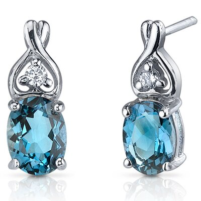 Classy Style 3.00 Carats London Blue Topaz Oval Cut Cubic Zirconia Earrings in Sterling Silver ...