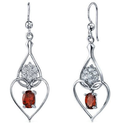 Oravo Illuminating Hearts 2.00 Carats Garnet Oval Cut Dangle Cubic Zirconia Earrings in Sterling Silver