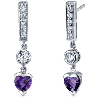 Oravo Exotic Love 1.50 Carats Gemstone Heart Shape Dangle Cubic Zirconia Earrings in Sterling Silver