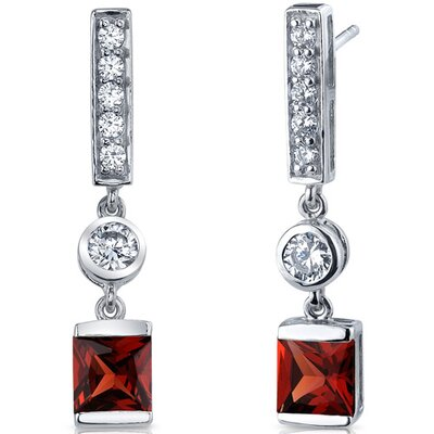 Exotic Sparkle 2.50 Carats Garnet Princess Cut Dangle Cubic Zirconia Earrings in Sterling Silver
