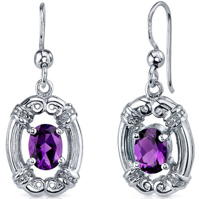 Antique Style 1.50 Carats Gemstone Oval Cut Dangle Cubic Zirconia Earrings in Sterling Silver