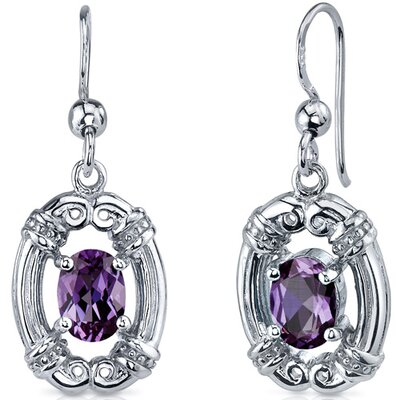 Antique Style 2.00 Carats Alexandrite Oval Cut Dangle Cubic Zirconia Earrings in Sterling Silver