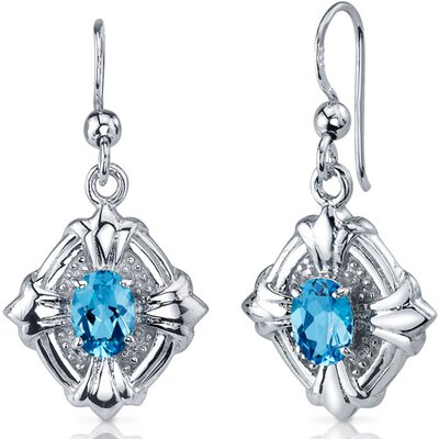 Victorian Design 2.00 Carats Swiss Blue Topaz Oval Cut Dangle Cubic Zirconia Earrings in ...