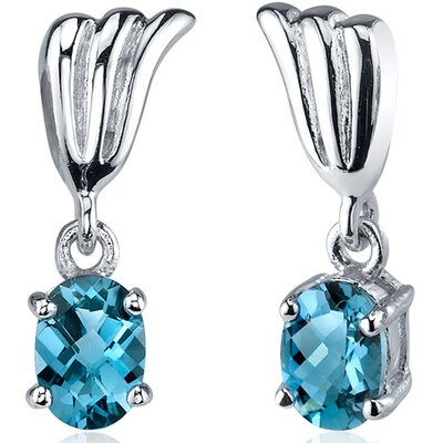 Oravo Striking 1.50 Carats London Blue Topaz Oval Cut Earrings in Sterling Silver