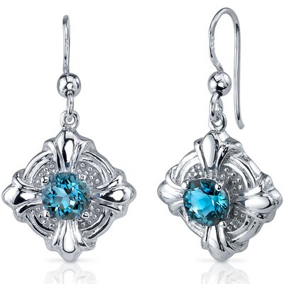 Victorian Style 2.00 Carats London Blue Topaz Round Cut Dangle Cubic Zirconia Earrings in ...