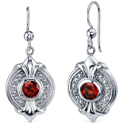 Ornate 1.00 Carat Garnet Round Cut Dangle Earrings in Sterling Silver