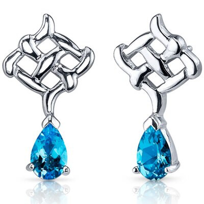 Oravo Ornate Exuberance 2.00 Carats Swiss Blue Topaz Pear Shape Earrings in Sterling Silver