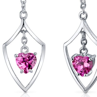 Oravo Dynamic Love 2.00 Carats Pink Sapphire Heart Shape Dangle Earrings in Sterling Silver