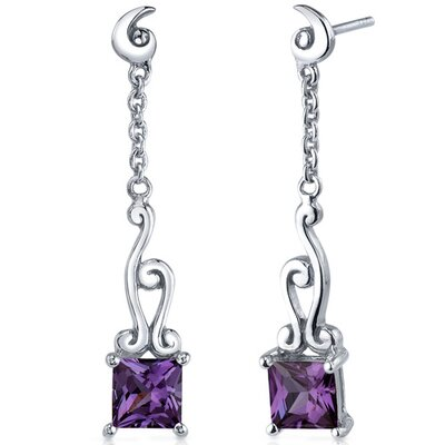 Lucid Spiral Design 3.00 Carats Alexandrite Princess Cut Dangle Earrings in Sterling Silver