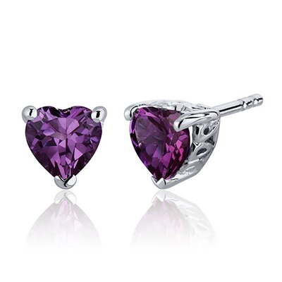 2.00 Carats Alexandrite Heart Shape Stud Earrings in Sterling Silver