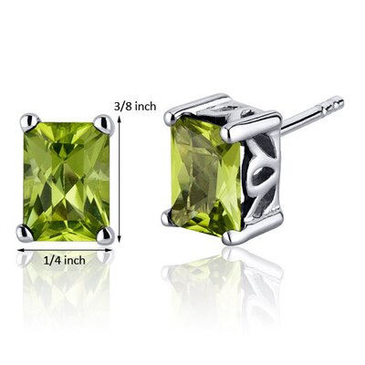 Oravo Radiant Cut 2.00 Carats Peridot Stud Earrings in Sterling Silver