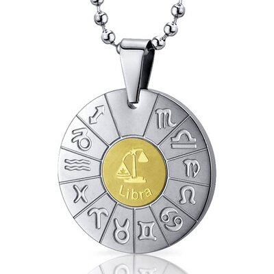 Libra Scales Sign Zodiac Symbol Stainless Steel Circle Pendant Necklace