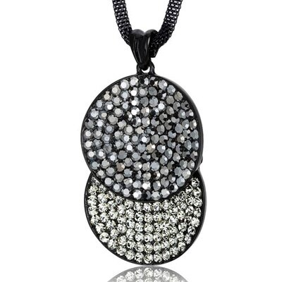 Oravo Overlapping Circles Hematite and Black Diamond Swarovski Crystal Double Circle Pendant Necklace