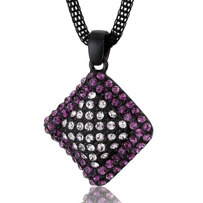 Wavy Diamond Design Amethyst and Pink Swarovski Crystal Pendant Necklace