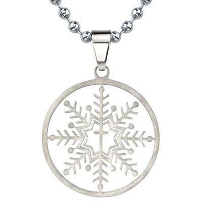 Oravo The Forever Snowflake Designer Inspired Titanium Brushed Finish Snowflake Cross Pendant on a Stainless Steel Ball Chain