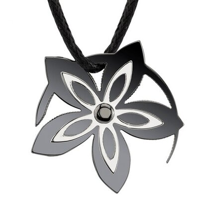 Say it with Flowers Designer Inspired Surgical Stainless Steel Gunmetal Finish Flower Pendant ...