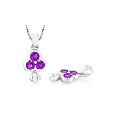 Oravo Round Cut Amethyst Three-Stone Pendant in Sterling Silver