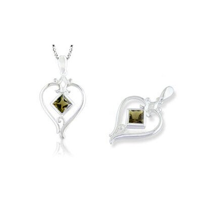Oravo Princess Cut Smoky Quartz Pendant in Sterling Silver