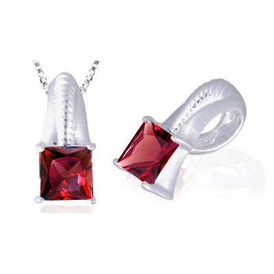 Princess Cut Garnet Pendant in Sterling Silver
