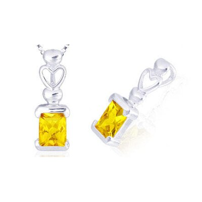 Oravo Radiant Cut Citrine Pendant in Sterling Silver