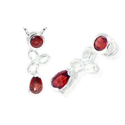 Pear Round Cut Garnet Pendant in Sterling Silver