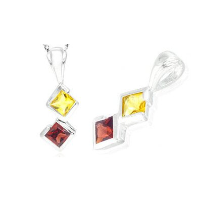 Princess Cut Citrine Garnet Pendant in Sterling Silver