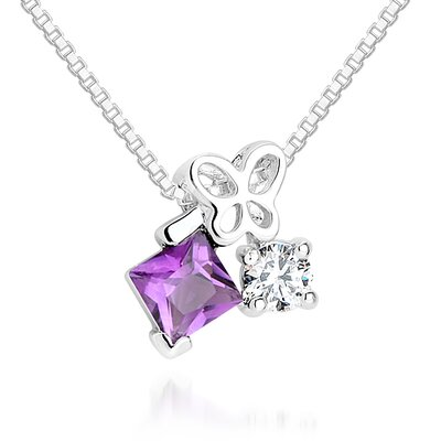 Oravo Princess Amethyst Round White CZ Pendant Necklace in Sterling Silver
