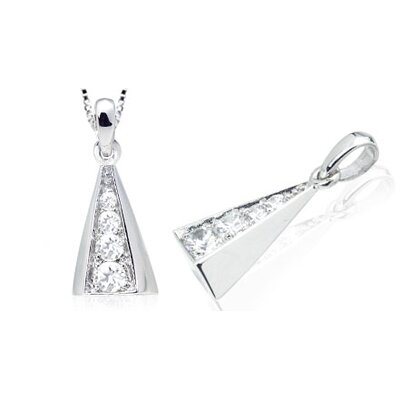 Round Cut White CZ Multistone Pendant in Sterling Silver