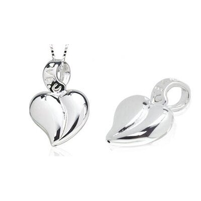 Oravo Lightweight Heart Leaf Pendant in Sterling Silver