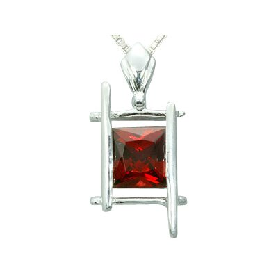 2.00 Carats Princess Cut Genuine Garnet Pendant Necklace in Sterling Silver
