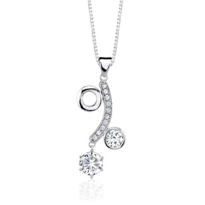 Oravo Casual luxury Art Deco Style Celebrity Inspired Modern Cubic Zirconia Pendant Necklace in Sterling Silver
