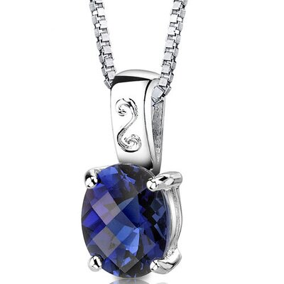 Spring Dream Oval Shape Checkerboard Cut Blue Sapphire Pendant in Sterling Silver