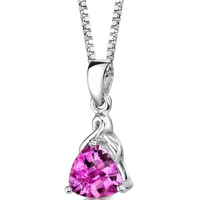 Oravo Sensual Splendor Trillion Checkerboard Cut Pink Sapphire Pendant in Sterling Silver