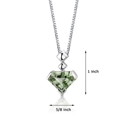Oravo Superman Cut 6.25 Carats Green Amethyst Pendant in Sterling Silver