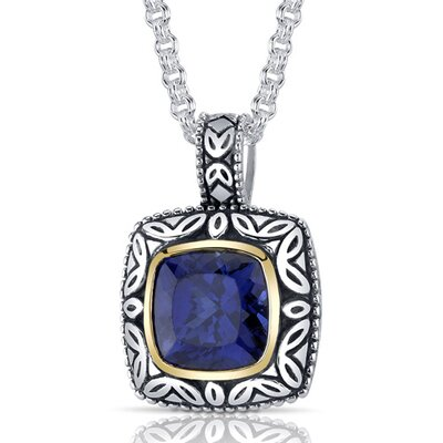 Cushion Cut 6.00 Carats Sapphire Antique Style Pendant in Sterling Silver