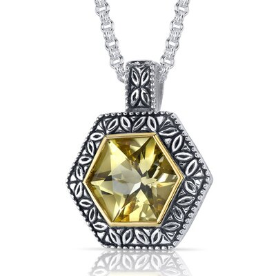 Hexagon Cut 6.00 Carats Champagne Citrine Antique Style Pendant in Sterling Silver