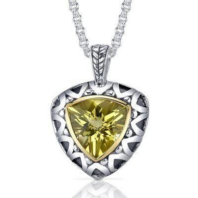 Trillion Checkerboard Cut 5.00 Carats Champagne Citrine Antique Style Pendant in Sterling Silver
