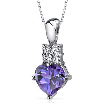 Captivating Love 1.75 Carats Heart Shape Alexandrite Pendant in Sterling Silver