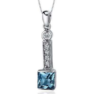 Oravo Sparkling 2.00 Carats Princess Cut Sterling Silver London Blue Topaz Pendant in Sterling Silver
