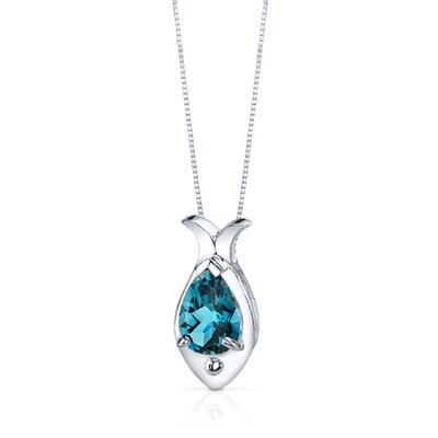 Oravo Fish Design 2.00 Carats Pear Shape London Blue Topaz Pendant in Sterling Silver